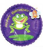 Hoppy Birthday Round Frog Mylar Balloon