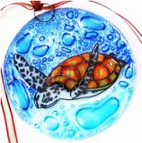 Fused Glass Green Sea Turtle Ornament