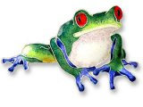 Blue-Toed Sterling Enamel Frog Pin