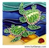 Two Sea Turtles Small Art Tile