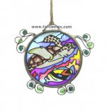 Small Green Sea Turtle Painted Suncatcher