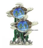 Pewter & Enameled Double Sea Turtle Frame