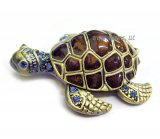 Sea Turtle Tiny Jewel Box with Aqua Crystals
