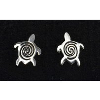 Pewter Earrings Turtle Swirl