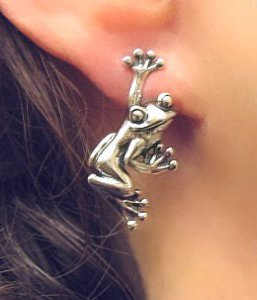 Sterling Hanging Frog Earrings
