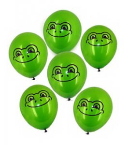 Six Latex Frog Balloons