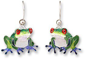 Blue-Toed Sterling Enamel Frog Earrings