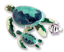 Sterling Enamel Green Turtles Pin
