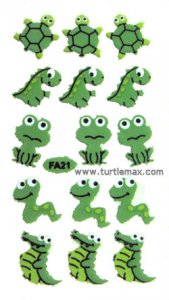 Reptile & Frog Green Puffy Stickers