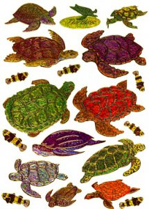 Turtle Giant Shiny Laser Stickers