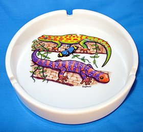 Colorful Geckos Ceramic Ashtray