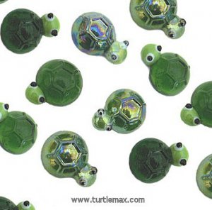 Green Turtle Glass Accents, pk/24
