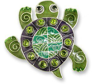 Sterling Enamel Crystal Turtle Pin