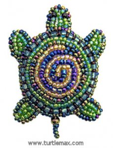 Spiral Beaded Turtle Pin