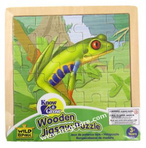 Wooden Red-Eyed Tree Frog Puzzle (20 pc)