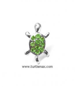 Green Crystal Turtle Cell-Phone Antenna Ring