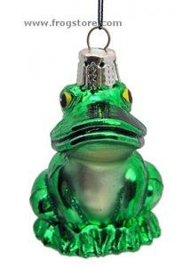 Sitting Frog Glass Ornament