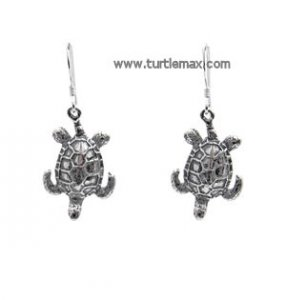 Dangly Sterling Sea Turtle Earrings