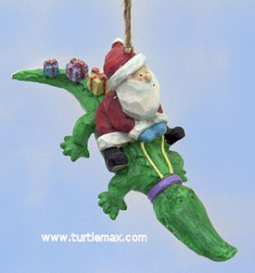 Santa on a Alligator Ornament