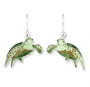Green Sea Turtle Sterling Enamel Earrings