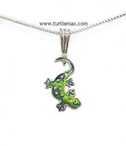 Sterling Enamel Little Gecko Necklace