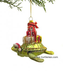Glass Sea Turtle with Gifts Ornament