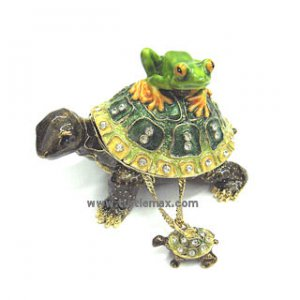 Turtle & Frog Buddies Enamel Jewel Box with Necklace