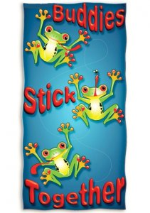 """Buddies Stick Together"" Frog Beach Towel"