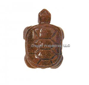 Carved Stone Turtle Charm: Goldstone - STRENGTH