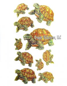 Golden Outline Tortoise Stickers