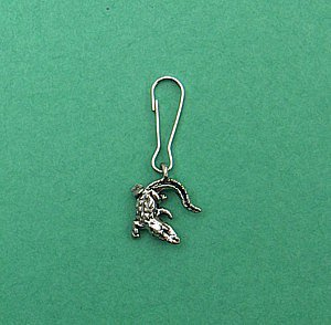 Curly Alligator Pewter Zipper Pull