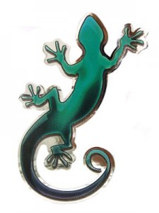 Chromed Green Gecko Sticker