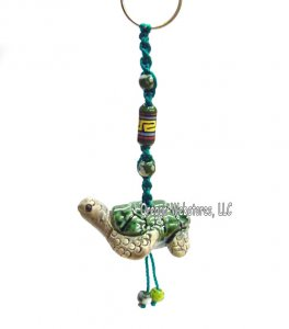 Beaded Ceramic Turtle Key Ring