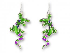 Calypso Gecko Silverplate Enamel Earrings