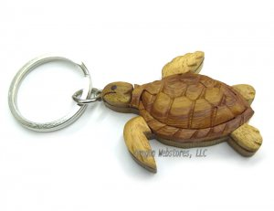 Woodcrafted Turtle Keychain