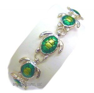 Silvery Green Enamel Sea Turtle Bracelet