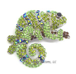 Giant Crystal Green Chameleon Pin