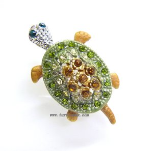 Amber and Green Crystal Turtle Pin