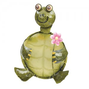 Metalwork Garden Turtle with Flower