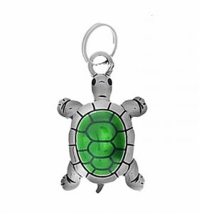 Green Turtle Split-Ring Lucky Charm