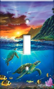 Colorful Sea Turtle Switch Plate